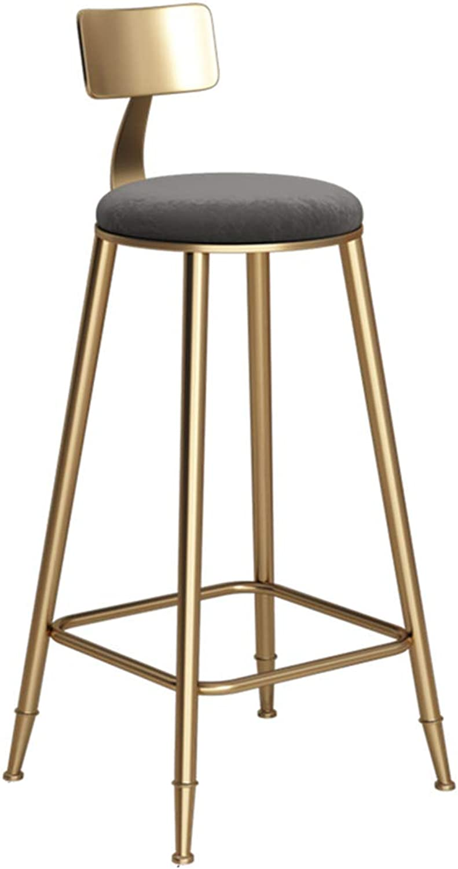 Retro bar Chair high Stool backrest Grey Sponge pad Lounge Chair Bearing 150 kg Metal Legs (Size   46x46x78cm)