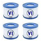 CXYXHW Cartuchos de filtro VI para filtro de piscina Bestway, filtro VI, filtro de repuesto para Lay-Z-Spa, para Bestway Flowclear Pool Filter, para filtros Bestway VI para Miami, Vegas (4 unidades)