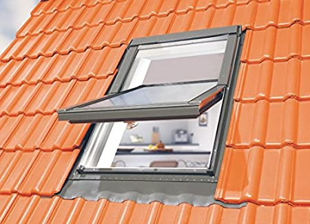Dachfenster Fakro Schwingfenster 66x118cm Kunststoff mit Dauerl/üftung V35 Standardverglasung U3 mit Ziegeleindeckrahmen
