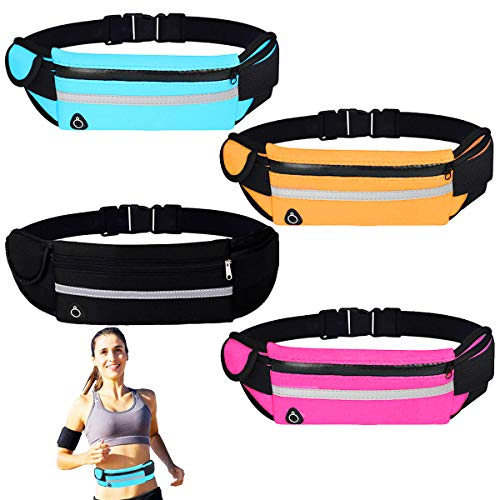 Osuter Sport Hüfttasche, 4PCS Gürteltasche wasserdichte Lauftasche mit Kopfhöreranschluss für Jogging Laufen Fitness Outdoor Aktivitäten