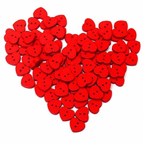 Bluelover 100 Piezas Madera De Forma De Corazón Rojo Coser Botones Boton De Costura Decoración Bricolaje Bebé Ropa Sombrero