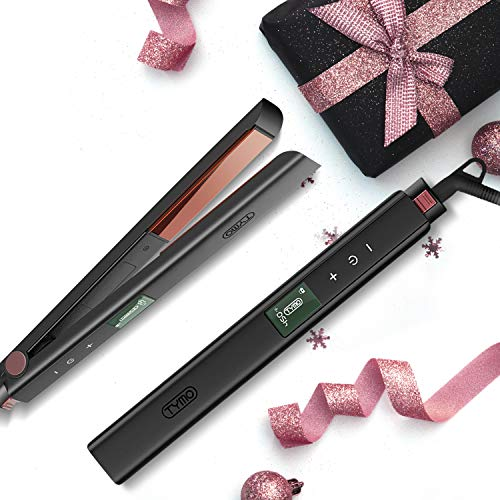 "TYMO Titanium Hair Straightening Iron – 1"" Flat Iron for Hair with Superior Titanium 3D Floating Plate, Customized 16 Heat Settings (170°F~450°F) Straightener and Curler"
