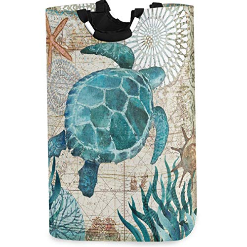 visesunny Coral Turtle On The Wood Large Laundry Bag Collapsible Oxford Fabric Laundry Hamper Foldable Portable Dirty Clothes Laundry Basket with Handles Waterproof Washing Bin Laundry Tote Bag