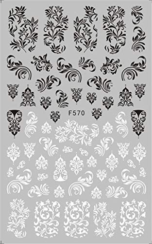 KBWL Nagelaufkleber 1 Schwarz-Weiß-Blume Nagelaufkleber Mandala Tropical Leaf 3dNagelaufkleberGeometric Paste Nail Film Design StickerF570