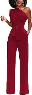 comprar comparacion Lover-Beauty Mujer Mono Elegante Largo Invierno Un Hombro Casual Pantalones Ropa Vestir Cintura Alta Vendaje Ajustado Sexy...