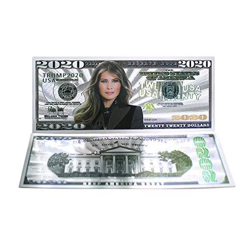 2020 Dollar Bill Melania Trump Banknote, Gold Coated First Lady Melania Limited Edition Million Dollar Bill Tolles Geschenk für Währungssammler und Republikaner (Silber, 10)