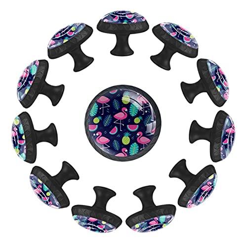 (12 piezas) pomos de cajón para cajones, tiradores de cristal para gabinete con tornillos para armario, hogar, oficina, armario, verano, flamenco, piña, sandía, palma, 35 mm