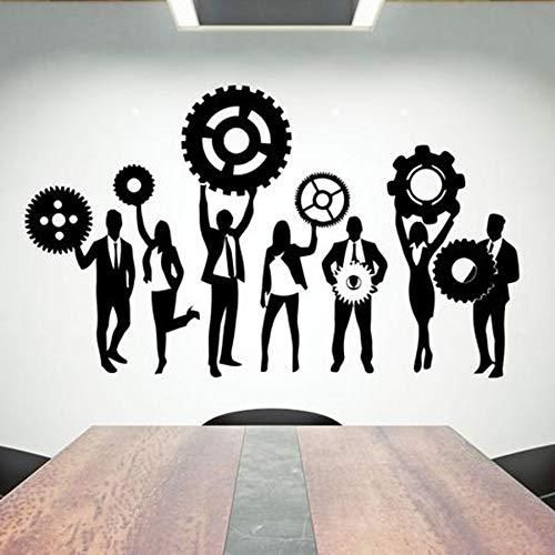 HGFDHG Calcomanías de Pared de Oficina Trabajo en Equipo Trabajo Duro Pegatinas de Pared de Vinilo decoración Creativa de Oficina Ideas Inspiradoras Arte Mural de Engranajes