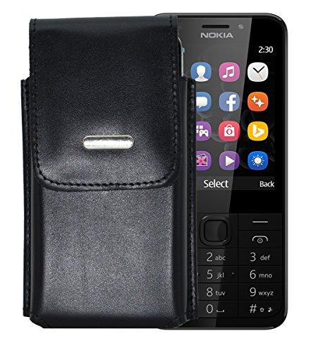 Vertikal Etui für / Nokia 230 - 230 Dual SIM / Köcher Tasche Hülle Ledertasche Vertical Hülle Handytasche mit einer Gürtelschlaufe auf der Rückseite