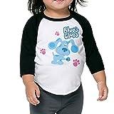 Grace Little Blue's Clues Dog Fashion Boys & Girls Baby 100% Cotton 3/4 Sleeve Raglan Tee Unisex Black
