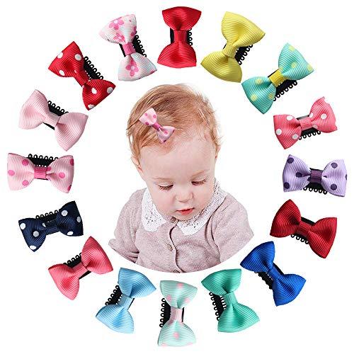 Mini Baby Haarspangen, Bunahome 16 Farben Neugeborenen Haarspangen Grosgrainband Infant Feines Haar Mini Bogen für Baby Mädchen