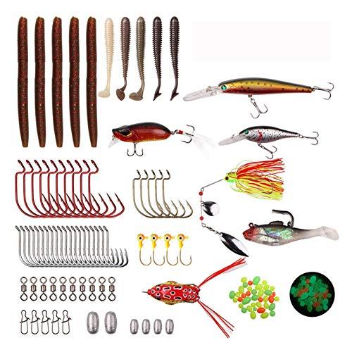 WODEJIA 96PCS Pesca Tackle Box Kit De Señuelos Jigs Spinnerbait Switeroit Sinker Peso Barril Gusano Gusano Ganchos Ganchos para Pesca Bass Jig