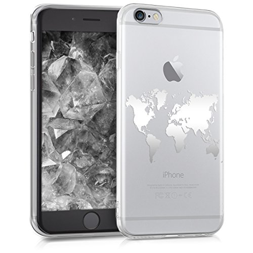 kwmobile Hülle kompatibel mit Apple iPhone 6 / 6S - Handyhülle - Handy Case Travel Umriss Silber Transparent