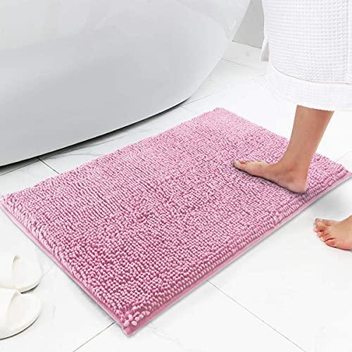 YIQI Tappetino da Bagno Antiscivolo Tappetini per Il Bagno Vasca Doccia WC Tappeto da Terra in Microfibra Ciniglia Assorbente Lavabile in Lavatrice Morbido 40 x 60 cm (Rosa)