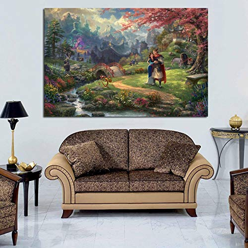 YuanMinglu Hua Mulan Puzzle Kunst Poster Print wandkunst leinwand ölgemälde dekorative malerei Moderne Dekoration Kunst rahmenlose malerei 48x72 cm