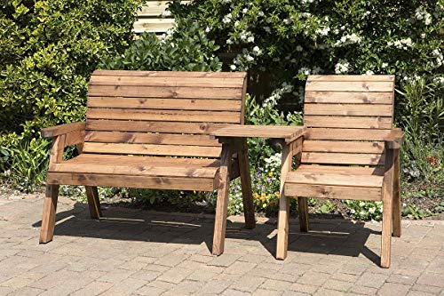 Home Gift Garden 3 Seater Companion Seats - Loveseats - Tete a Tete Seats - Solid Wood Outdoor Patio Decking Furniture