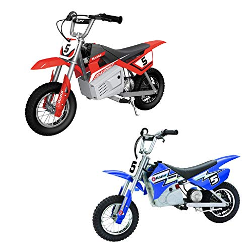 Razor MX350 Dirt Rocket Kids Ride On Electric Toy Motocross Motorcycle Dirt Bike, Speeds up to 14 MPH, 1 Red & 1 Blue
