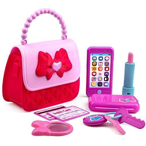 Playkidz Princess My First Purse Set - 8 Pieces Kids Play Purse and Accessories, Pretend Play Toy Set with Cool Girl Accessories, Includes Phone and Bag with Lights and Sound.
