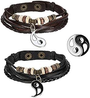Cupimatch, coppia di bracciali, acciaio inossidabile, in pelle, con ciondolo Ying Yang, ideale per coppie, colore marrone,...