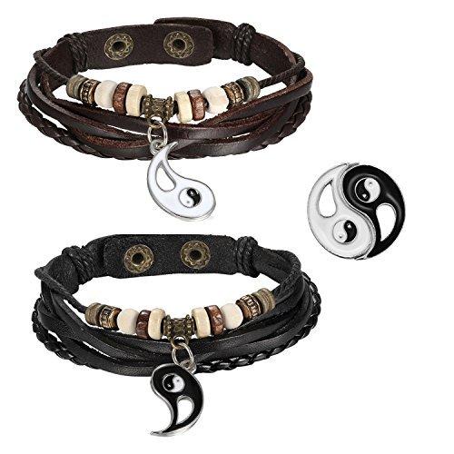 Cupimatch, coppia di bracciali, acciaio inossidabile, in pelle, con ciondolo Ying Yang, ideale per coppie, colore marrone, nero e argento