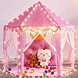 """Mooner Girls Play Pink Tent Toys 55x53"""" Princess Large Playhouse with 40 Star Lights for Children Indoor and Outdoor Games"""