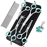 J-Bonest 8PCs Stainless Steel Dog Grooming Scissors Kit, Heavy Duty Pet Grooming Trimmer Set with Thinning, Straight, Curved Shears Comb for Large Small Dog Long Short Curly Hair (Green)