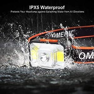 OMERIL Linterna Frontal LED USB Recargable, Linterna Cabeza Super Brillante, 5 Modos de Blanco y Rojo Luz, IPX5 Impermeable Frontal LED para Correr, Acampar, Pescar, Ciclismo, Camping, Niños