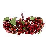 Inicio DIY Arándanos Artificiales Bayas Arbustos Plantas, Boda Home Garden Flores Florales Decoración - Rojo Oscuro