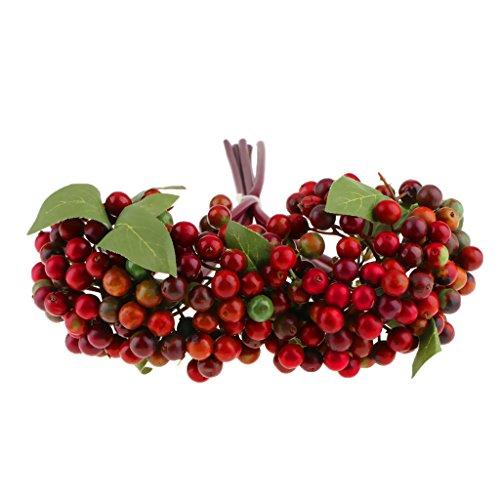 Fenteer Künstliche Beeren Beerenzweige Kunstblumen Blumenstrauß für Fest Hochzeit Ornament - Dunkelrot