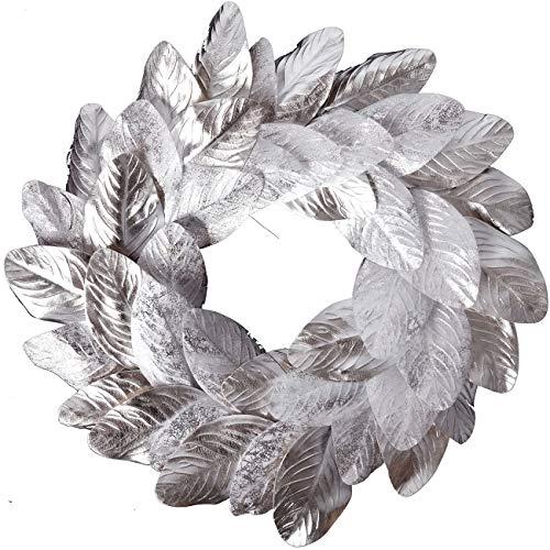 idyllic Silver Magnolia Leaves Wreath 20 Inches Farmhouse Decoration Adjustable Vintage Front Door Wreath for Home Decor, Centerpiece