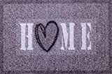 oKu-Tex Zerbino, Tappeto Ingresso, Cuore, Interno, Antiscivolo, Lavabile, Grigio Melange, Poliammide, Home Heart, 40 x 60 cm