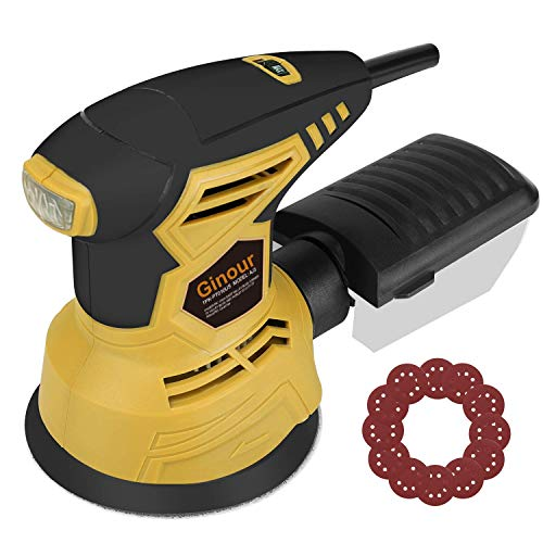 Ginour 6+Max Variable Speed Random Orbit Sander, 5-inch Sander with 10Pcs Sandpapers, Efficient Dust Collection System, Ideal for Sanding, Finishing, Polishing Wood