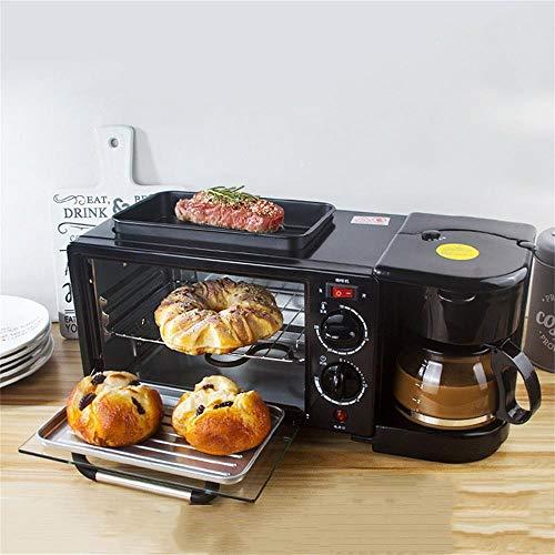 PUBJ 4 In1 Minibackofen Mit Kaffeemaschine Frühstücksofen Mit Glasdeckel, Kleine Multifunktions-FrüHstüCksmaschine Toaster, Eierkocher 1150 W