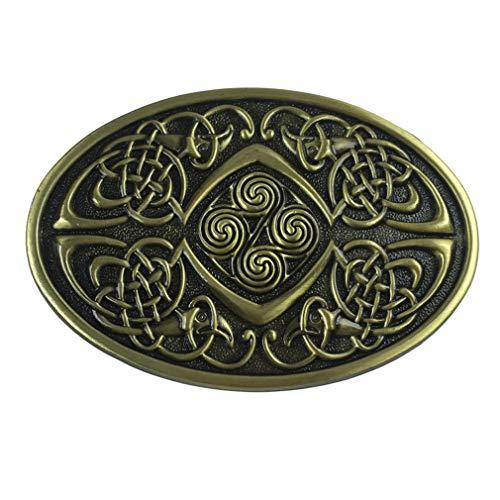 LKMY Celtic Knot Oval Belt Buckle,American Keltic Irish Scottish Celtic Cross For Mens Womens (D-Brown)