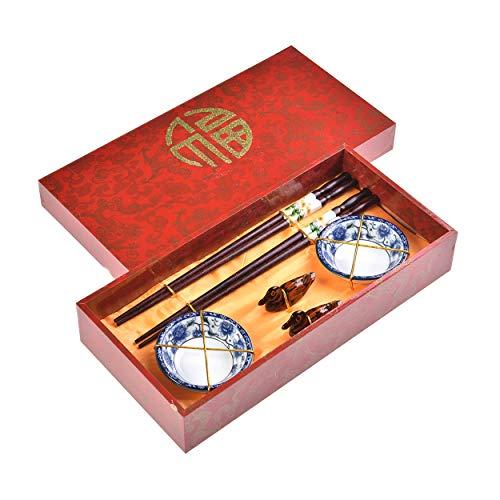 Quantum Abacus Pregiato Set di Bacchette Anemone Blu 2 Bacchette cesellate in Legno, 2 poggiabacchette, 2 Ciotole in Ceramica, in Confezione Regalo, MOD. I_S2-B-W-07