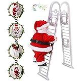 WELLXUNK® Santa Claus subiendo la Escalera, muñeco de Peluche de Santa Claus de Doble Pista Creativo eléctrico Mejorado con música, decoración de la Puerta de la Familia de la Fiesta de Navidad