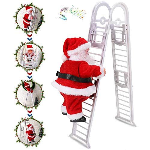 WELLXUNK® Scala da Arrampicata per Babbo Natale, Bambola di Peluche con Babbo Natale a Doppio Binario Creativa Elettrica Potenziata con Musica, Regali di Natale per Bambini