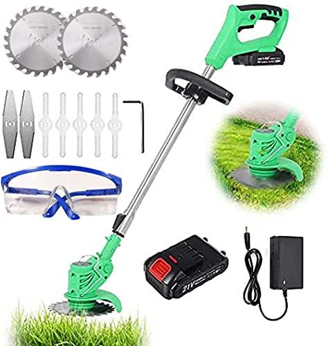 Oyeeice Akku Rasentrimmer 21V mit Akku und Ladegerät Elektro Rasentrimmer Teleskopstiel Leichter für Rasenschneiden, Rasenpflege, Auffahrt und Garten,1 Batterie