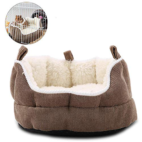 HEEPDD Haustier-Hamster-Sofa-Nest, Anti-Rutsch-abnehmbares hängendes Bett Winter-Plüsch Schlafhaus-Lebensräume Nestkäfig-Zubehör für Rennmäuse Chinchillas Eichhörnchen(Kaffee)