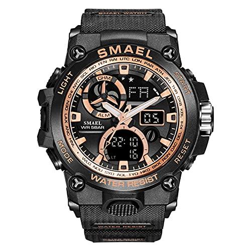 JTTM Relojes Deportivos para Hombre Pantalla LED De Moda Militar Relojes Hombres Casual Digital Relojes,Black Gold
