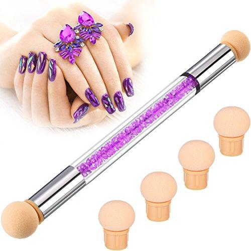 Brosse à ongles en éponge Brosse à ongles Cueillette Dégradant Dégradé Brosse Stylo Ombre Nail Art Outils avec 4 têtes de rechange (Violet)