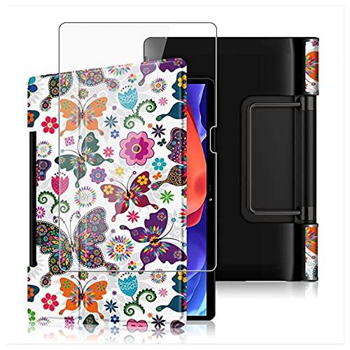 HHUAN Funda + Protector Pantalla para Lenovo Yoga Pad Pro 13' Pulgadas YT-K606F, con Soporte y Función Auto-Sueño/Estela Protectora Carcasa Case + 9H Dureza Cristal Templado - HD