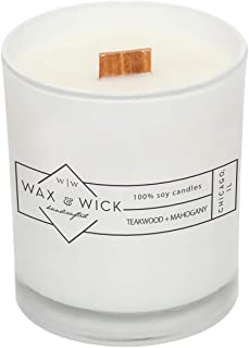Scented Soy Candle: 100% Pure Soy Wax with Wood Double Wick | Burns Cleanly up to 60 Hrs | Teakwood + Mahogany Scent with Notes of Teakwood and Mahogany | 12 oz White Jar by Wax and Wick