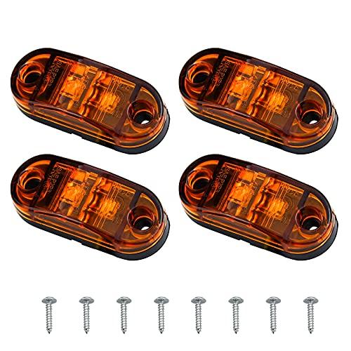 HongBoom 4 Pièces LED Auto Feux Latéraux Feux de Gabarit Avant LED Feux de Gabarit Étanche Feux Latéraux pour Auto Remorque Camionnette Camion Caravane Voiture Bus