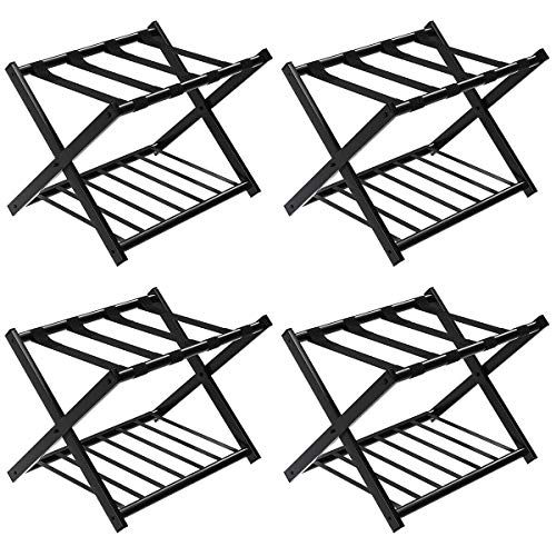 professional Tangkula luggage rack (set of 4), foldable metal suitcase holder, tearage rack with shoe rack, bedroom, room, hotel luggage rack