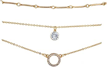 Lux Accessories Silvertone Geo Pave Crystal Stone Chain Anklet Set 3pcs