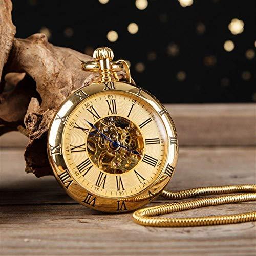 CDPC Reloj de Bolsillo, Reloj mecánico automático de Cobre Dorado de Alta Gama, Reloj de Bolsillo sin Cubierta Retro Simple, Reloj de Bolsillo mecánico, Reloj de Bolsillo Romano, Estudiantes masc