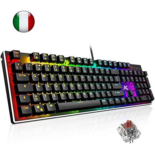 ACGAM AG-109R Italia Tastiera Meccanica RGB Backlit Switches Brown Tastiera Gaming 105 Tasti Anti-Ghosting per Funzioni Multimediali per Giocatori,Scrittori,Ufficio Xbox One fortintie