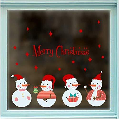 Newberli Dibujos Animados De Navidad Muñeco De Nieve Pegatinas De Pared Para Niños Sala De Estar Ventana De Vidrio Decoración Para El Hogar Extraíble Calcomanías De Vinilo Arte Diy Navidad Murales