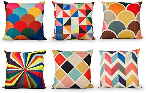 TIDWIACE Color Cushion Cover Linen Sofa Throw Pillow case for Bedroom Car with,Invisible Zipper 45x45cm/18x18 Inch Set of 6